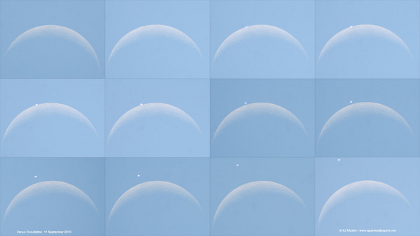 Composite images of Venus occultation on Sept. 11, 2010. Credit: Kerneels Mulder