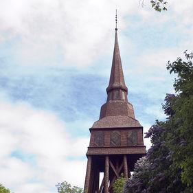 Hällestadsstapeln kommer från Hällestads församling i Östergötland och är med sina 40,5 meter en av Sveriges högsta klockstaplar. Den byggdes 1732-33 av byggmästare Nils Uhrberg.