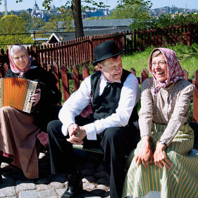 Dragspelsmusik i Stadskvarteren på Skansen