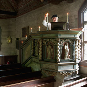 Predikstolen i Seglora kyrka, Skansen
