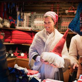 Försäljning på Skansens julmarknad