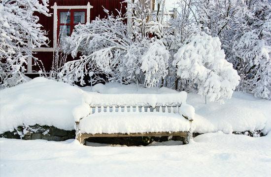 Bänk under snötäcke