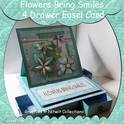 Flowers Bring Smiles 4 Drawer Easel Card Preview