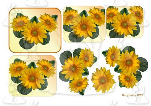 23 Sunflower Stacker and decoupage-DWJ