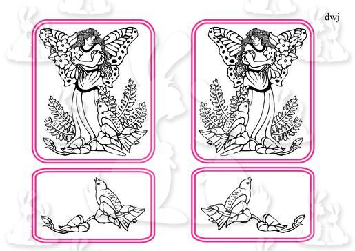 Fairy and bird Digi Stamp-DWJ
