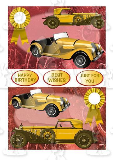 Two Vintage Car Toppers (Gold)
