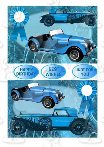 Two Vintage Car Toppers (Blue)