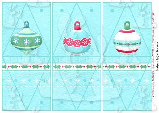 Triangle Gift Boxes - Baubles Blue