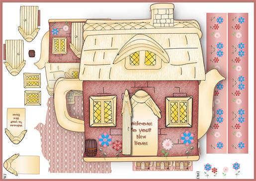 Cottage Teapot-New Home B-DWJ