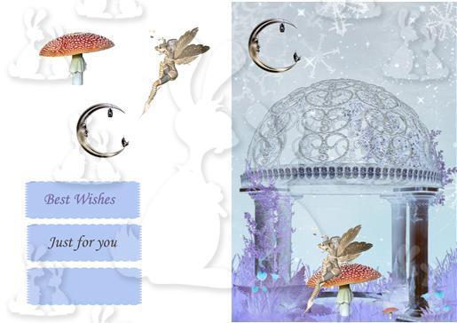 fairy glass dome card decoupage