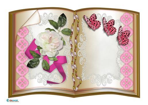 Book Cream Silk Rose 4-DWJ
