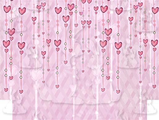 Pink Hanging Hearts Outer Front Panel A5