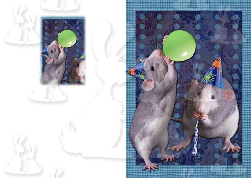 Blue Party Rats A5 Card