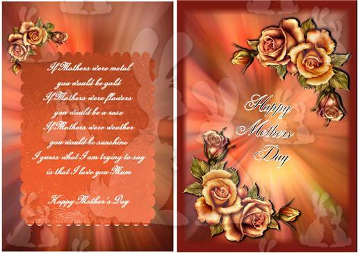 mothers day A5 card insert with verse