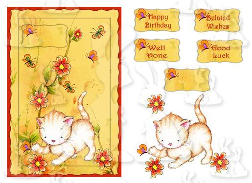 Cat Catching Butterflys (A5 card No 1T)