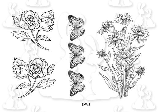 Floral and Butterflies Digi Stamp-DWJ