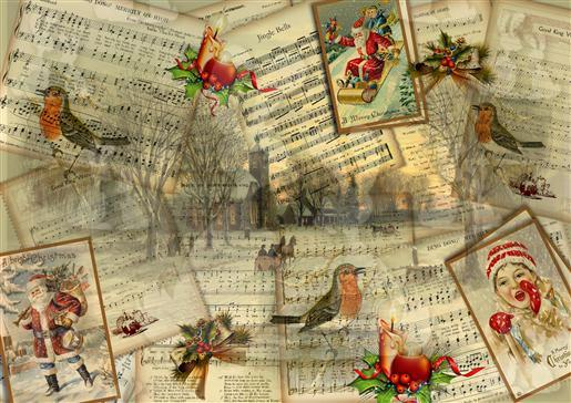 2 Vintage music Christmas background-DWJ