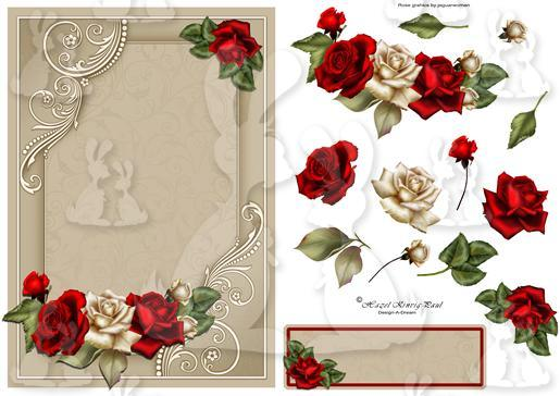 Rose Bouquet Decoupage Card