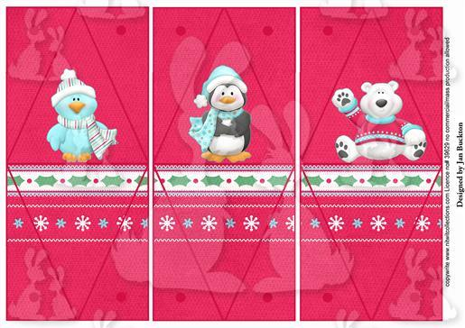 Triangle Gift Boxes - Polar Pals Red