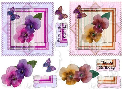 2 Square cards (Pansy No 1)