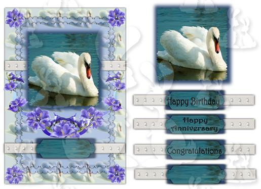 Swan card ( Birthday or Anniversary No 1A)