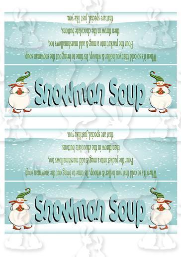 snowman soup bag topper