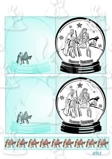 Snow Globe Digi Stamp cards-DWJ