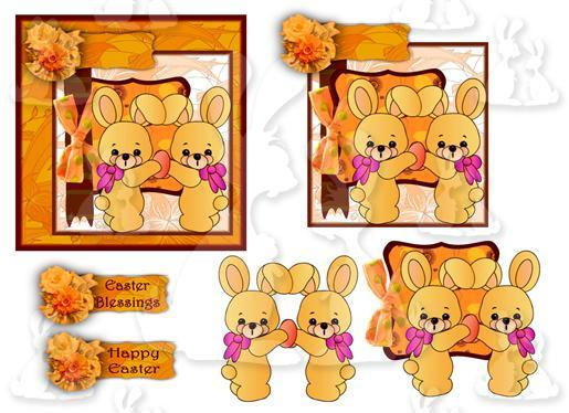 Easter Bunny's (Square topper Sheet No 1)