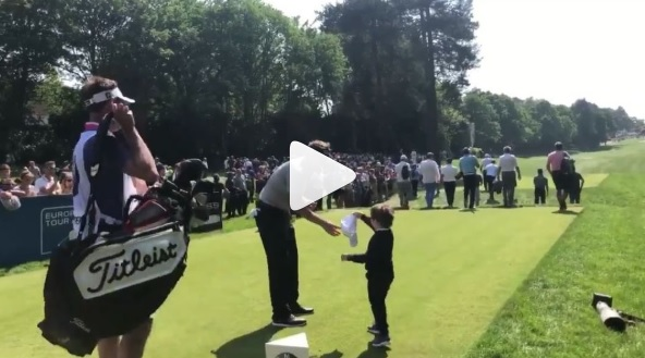 WATCH: Little kid mimics Poulter celebration, invited inside ropes