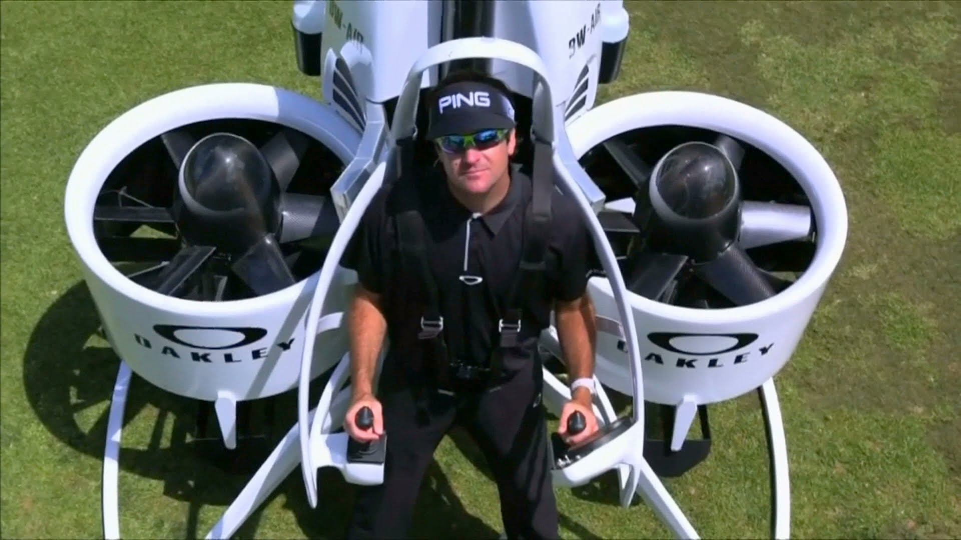 Bubba Watson shows off his $250,000 golf cart jetpack