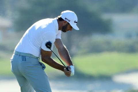 mimic the golf swings of dustin johnson and jon rahm to completely stop fatting it