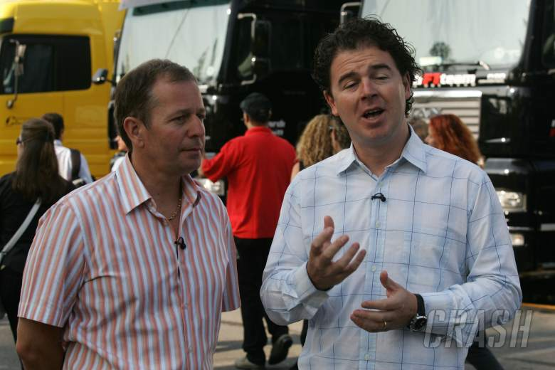 ITV`s Martin Brundle and James Allen do their piece to camera at the Italian Grand Prix