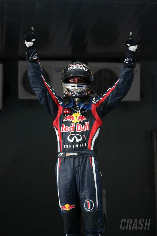 Podium – 1st Sebastian Vettel (GER), Red Bull Racing, 2nd Jenson Button (GBR), McLaren Mercedes, 3