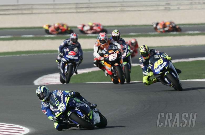 , , Gibernau leads Rossi, Hayden et al, Qatar MotoGP, 2005