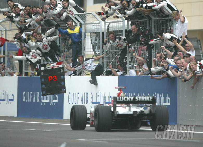 , , The BAR team welcomes Jenson Button home for his second straight podium, this time in Bahrain