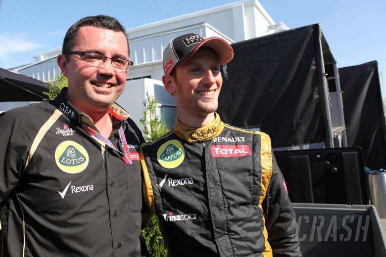 10.06.2012- Race, Celebration, Eric Boullier (FRA), Team Manager, Lotus F1 Team and 2nd position Rom