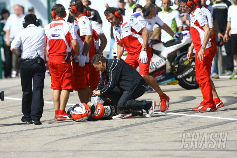 Pasini crashes in pitlane, MotoGP, German MotoGP 2012