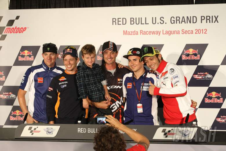 Spies, Stoner, Edwards wth his son,  Lorenzo, Rossi,USA MotoGP 2012