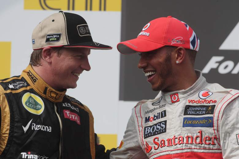 29.07.2012- Race, 2nd position Kimi Raikkonen (FIN) Lotus F1 Team E20 and Lewis Hamilton (GBR) McLar