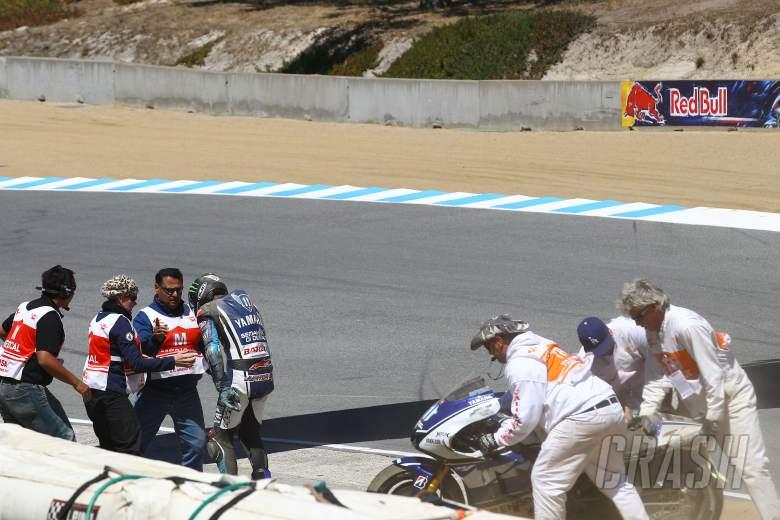 Spies after crash, USA MotoGP 2012