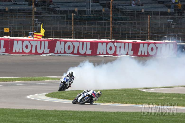 Spies engine blows up behind Lorenzo, Indianapolis MotoGP 2012