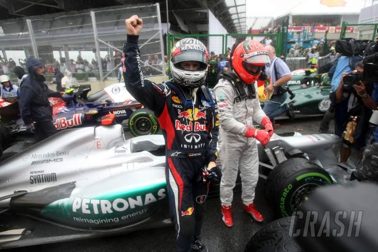 25.11.2012- Race, Sebastian Vettel (GER) Red Bull Racing RB8, world champion 2012 with Michael Schum