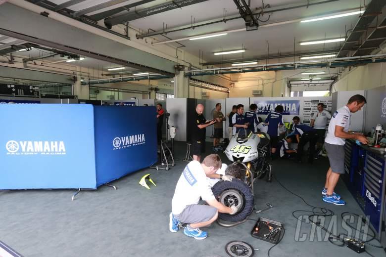 Rossi's garage, no wall but curtain divider, Sepang 2 tests, February 2013