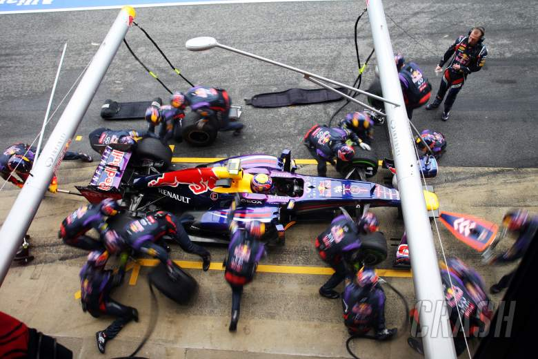 Mark Webber (AUS) Red Bull Racing RB9 practices a pit stop.22.02.2013.