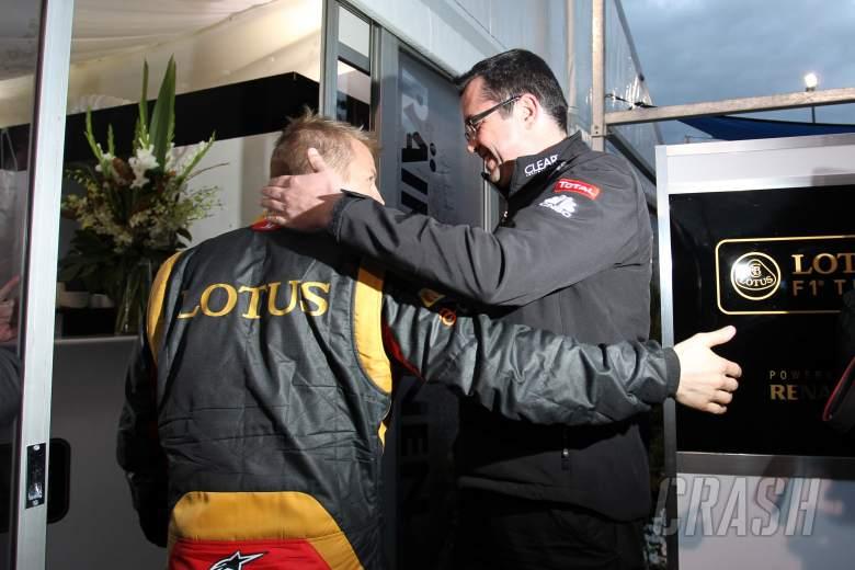 ,  - 17.03.2013- Celebration, Kimi Raikkonen (FIN) Lotus F1 Team E21 race winner with Eric Boullier (FRA)
