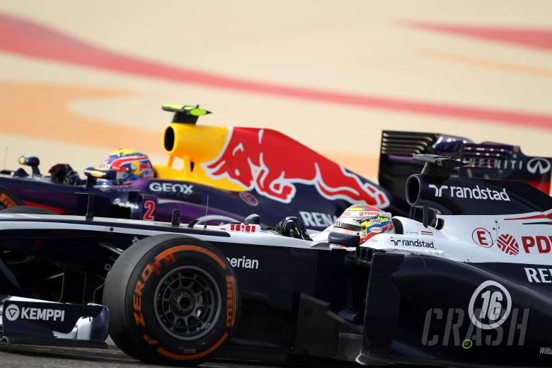 , , 21.04.2013- Race, Pastor Maldonado (VEN) Williams F1 Team FW35 and Mark Webber (AUS) Red Bull Racing