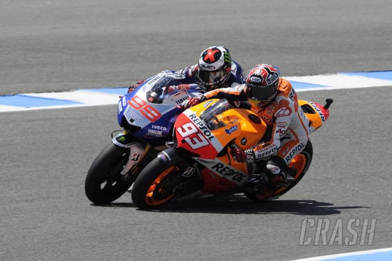 Marquez, Lorenzo touch, Spanish MotoGP Race 2013