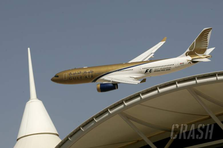 Gulf Air fly past at the Bahrain Grand Prix