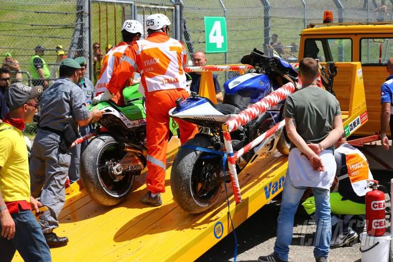 Bautista and Rossi's crashed bikes, Italian MotoGP race, 2013