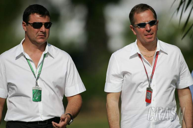 ITV F1 pundits and 2MB driver managers Mark Blundell and Martin Brundle in Malaysia